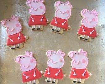 Peppa Pig Sugar Cookies - Birthday Cookies |1 Dozen