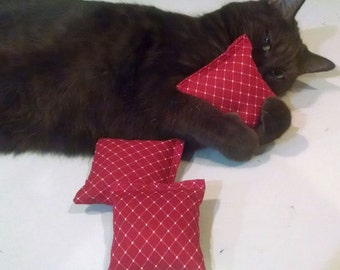 Catnip Pillow Toy 3-1/2 in - (3 Pack)  Red