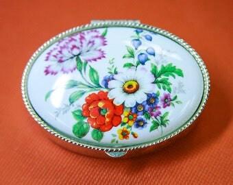 Vintage Metal Trinket Box With Decorative Porcelain Lid / Collectible Tin / Vintage Pill Box