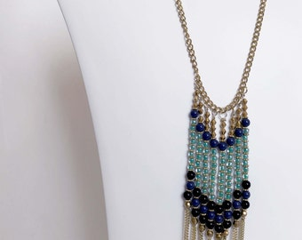 Navy, Gold, teal Beaded Necklace
