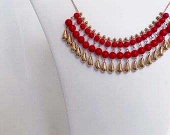 Red Beaded and Gold Attachable Necklace