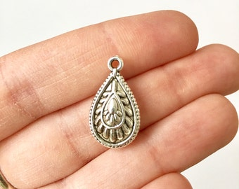 10 Double Sided Teardrop Charms with Antique Silver Toned Finish - SC1514