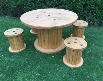 Brand New Cable Drum Table 1200mm With Stools, Garden Table, Garden furniture
