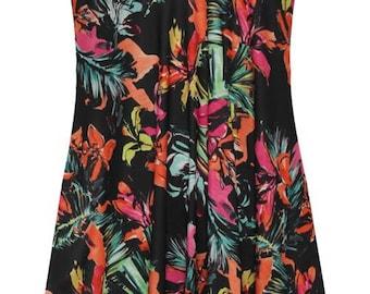 women multi flowers sleeveless cami swing mini dress long summer top vest PLUS SIZE
