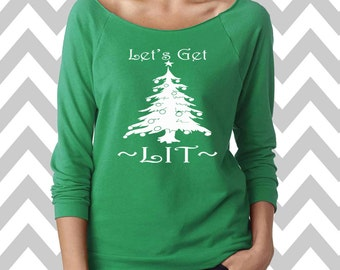Let's Get Lit Funny Christmas Sweatshirt  Women's Ugly Christmas Sweater Oversized 3/4 Sleeve Sweatshirt Ginger Bread Man Sweater Slouchy