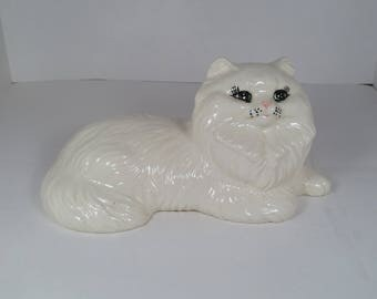 White Persian Ceramic Cat Statue, Cat Figurine, Cat Statue, Cat Home Decor