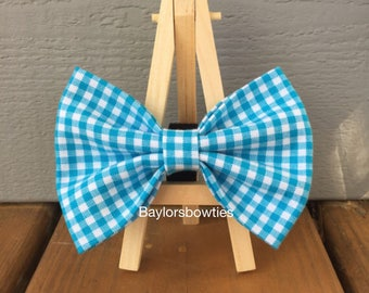Bright Blue gingham dog bow tie