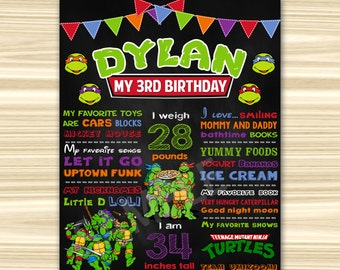 Teenage Mutant Ninja Turtles Chalkboard Poster. Ninja Turtles Birthday Chalkboard. TMNT Birthday oster. ANY AGE.Sign. Ninja Turtles P