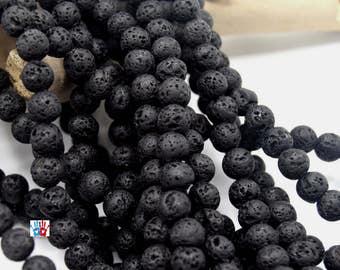 Lava 4mm beads, gemstone, Pearl of lava, lava stone, natural stone round black batch of 50/100 units