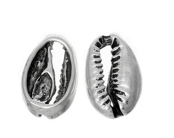 charms-cowrie shell metal antiqued silver 19mm in packs of 5/10/15/20 units