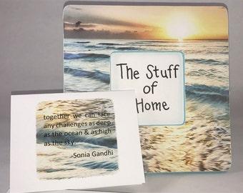 beachy sunset frame and card