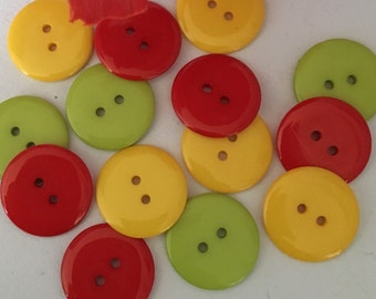 10 multi colour buttons, large buttons, 23mm round buttons, resin buttons, bright buttons, yellow buttons, red buttons, green buttons