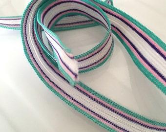 5M, striped folding elastic, stripy elastic, green elastic, white elastic, knicker elastic, headband elastic, 18mm elastic, haberdashery uk
