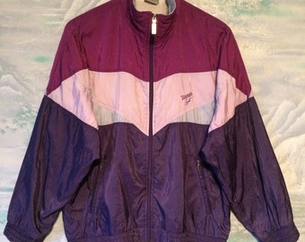 Vintage Jacket Purple Hipster Jacket Windbreaker White Purple Zipper Triumph Hood Jacket Medium Size