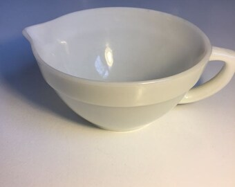 White Fire King Mixing Bowl, Milk Glass Bowl, Bowl with Handles
