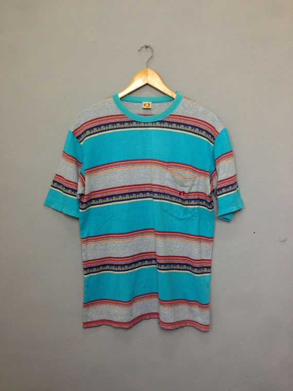 vintage 80s hang ten single pocket striped surfing surf