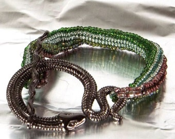 Glass Seed Bead Bracelet with Pewter Snake Toggle Clasp