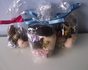 Knitted bags of chocolates