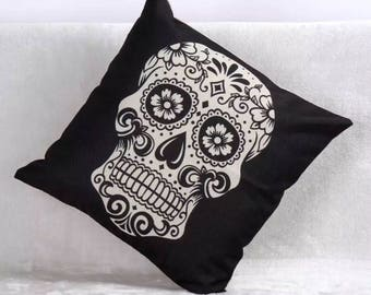 Cute Black Day of The Dead Decorative Skull Cover
