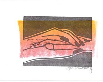 Lino Cut Print Art Card - Hands