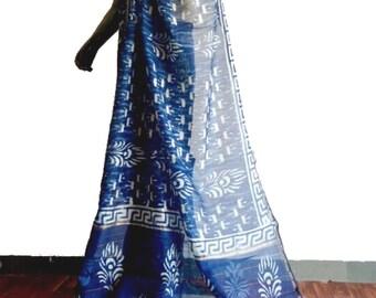 Mayuri - Indigo Bagru Hand Block Print Chanderi Saree
