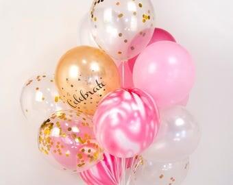 Strawberry Marble Confetti Balloon Bouquet, Pink & White, Girls Birthday Party, Wedding - AU Free Shipping