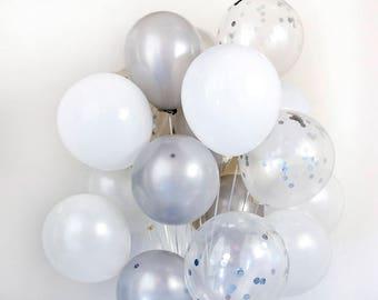 White & Silver, Confetti Balloon Bouquet - Wedding, Birthday, Party, 21st, 30th - AU Free Shipping