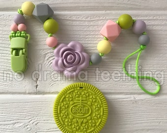 Silicone Oreo Biscuit Teether with a pacifier clip