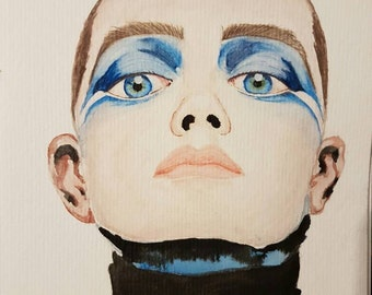Blue - watercolour painting - fashion - art
