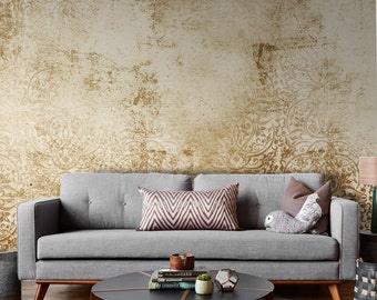 Removable Wallpaper Damask Wallpaper for Small Wall Mural | Vintage Wallpaper
