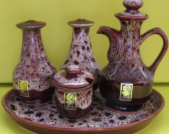 Retro Gift. Cruet Set. Fosters Brown Honeycomb Cruet Set. Complete Retro Cruet Set. 1970 Kitchen Ware. Fosters Pottery. 1970. Free UK P&P