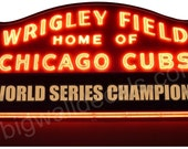 Wrigley Field Night Marquee Wall Mural Graphic with World Series Champions