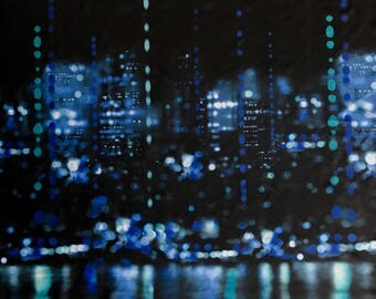 Black City Lights Material- 4 way stretch, Spandex Fabric (Swim, Dance, Gymnastics, Legging fabric). By the yard