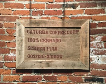 CATURRA COFFEE CORP - Framed Burlap Coffee Bean Sack