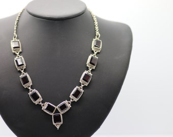 Vintage Mexico .925 Silver and Garnet Necklace