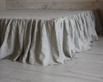 Linen Dust Ruffle Bed Skirt European Flax Natural linen Twin Full Queen King CalKing size