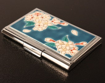 card case KUTANI ware Cherry Blossom made in japan