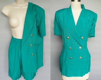 business casual / 1980s teal shorts suit / double breasted blazer and high waisted shorts / 8 10 12 medium