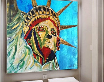 Statue of Liberty Art Statue of Liberty Large Abstract NYC Art New York City Skyline Wall Art NYC Skyline Home Decor Handmade Living Room