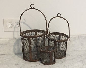 Set of three - Rustic candle / votive holder - modern farmhouse chic