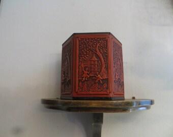 "Vintage Guildcraft New York Hexagon Shaped Tall Tin 4 3/4"" tall Trinket Box Pen Pencil Holder"