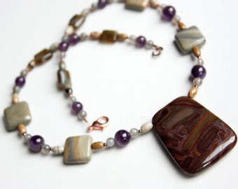 Chocolate Jasper Pendant Necklace with Silver Mist Jasper, Amethyst, and Labradorite
