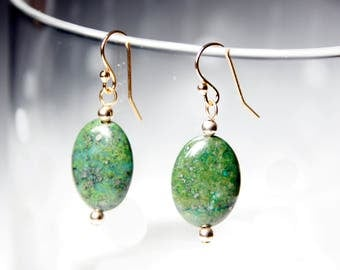 Green Pyrite with Gold Filled Beads and 14 Karat Plated Finishings