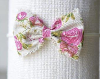 Boho fuchsia floral raw edge bow   SS17