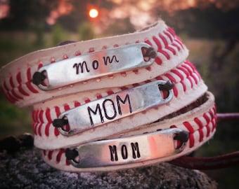 Baseball Bracelet, Baseball Mom, Personalized Baseball Bracelet, Leather Baseball Bracelet, WAGS Baseball, Baseball Number