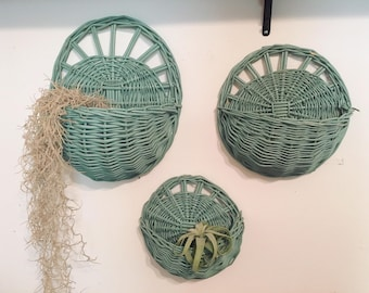 Boho Turquoise/ Teal Woven Wicker Wall Pockets- 3 sizes