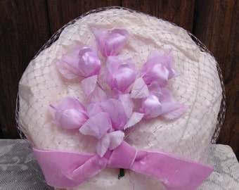 Vintage Lavender Netted Veil Pillbox Hat, Vintage Net Veil, Vintage Veil, Vintage Pillbox Hat