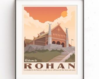 Rohan Edoras. The lord of the ring. Retro travel poster. Meduseld castle. Middle Earth art. The Hobbit poster. JRR Tolkien design. Gondor