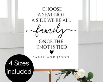 Choose a Seat Not a Side Sign, Choose a Seat Sign, Wedding Ceremony Sign, Printable Seating sign, Instant Download, WLP291