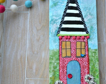 Mixed Media House. House Sign. New Home sign. Housewarming Gift. Home Sweet Home. Colorful House. Bless this House. Wood House.